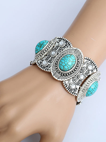 LaceShe Silver Plated Diamond Turquoise Bracelet