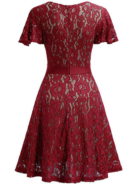 LaceShe Women's Full Lace Bell Sleeve A-Line Dress