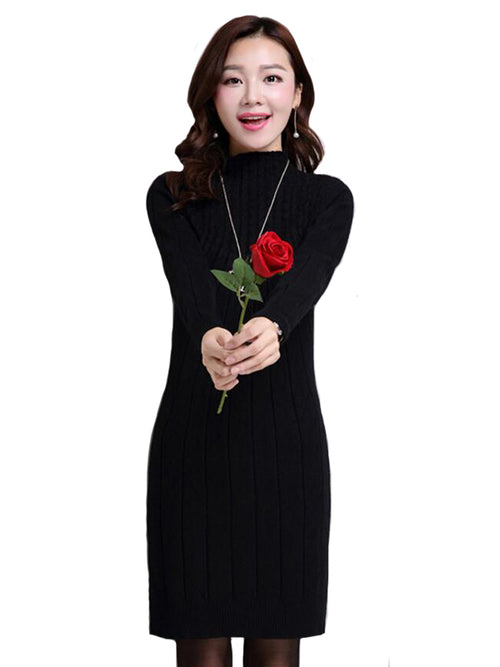 Laceshe Women's High Collar Knit Fall Winter Dress