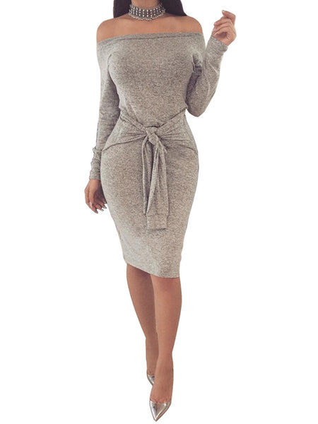 Laceshe Women's Sexy Bodycon Off-the-Shoulder Pencil Dress