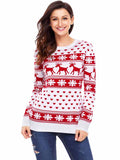 Laceshe Women's Christmas Style Long Sleeve Sweater