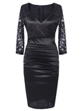 Women's Deep-V Neck Ruffles Floral Lace Dress