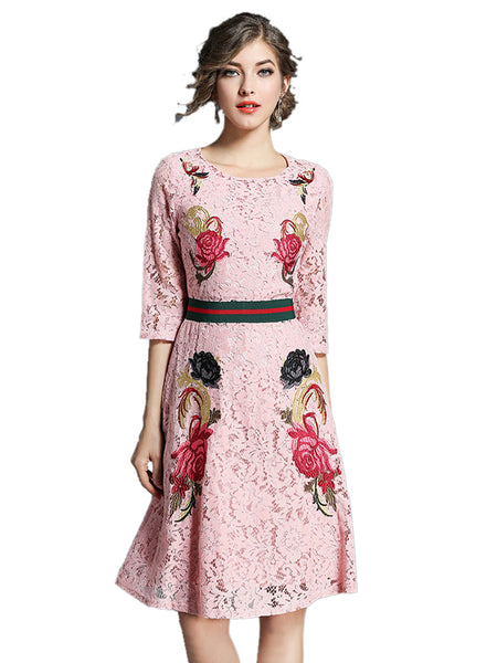 Laceshe Women's 3/4 Sleeve Floral Embroidered Lace Dress