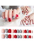 LaceShe 24Pcs Red Short Full Cover False Nail Tips Art