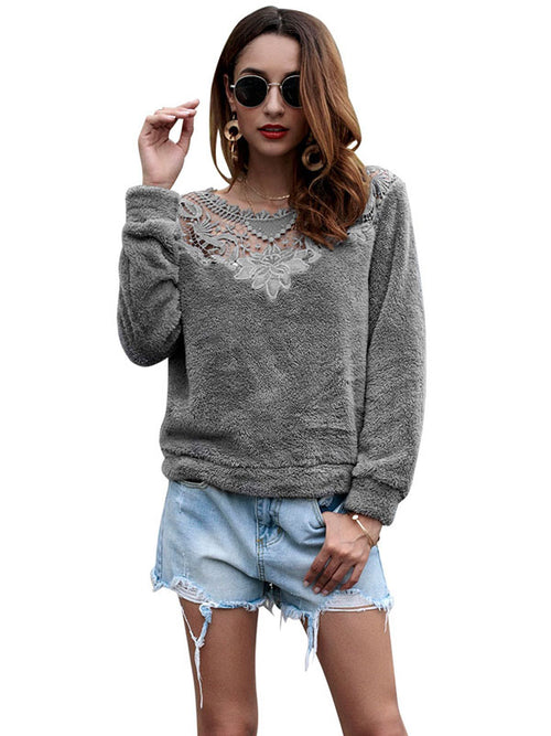 Laceshe Women's Long Sleeve Lace Velvet Stitching Sweater