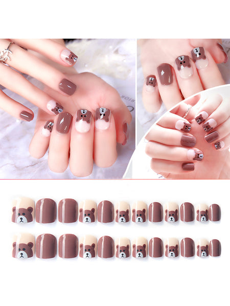 LaceShe Cute Bear Design Short False Nails