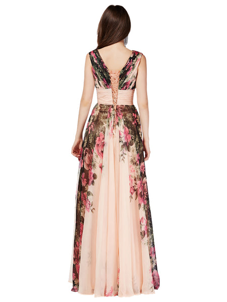 4d88a07fd8e Laceshe Women s Pageant Floral Printed Bridesmaid Long Dress – LaceShe