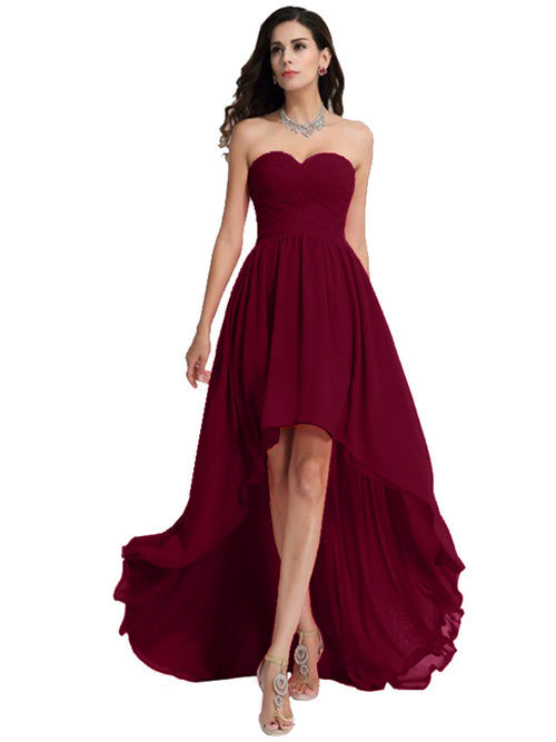 LaceShe Women's Hi-Lo Length Strapless Bridesmaid