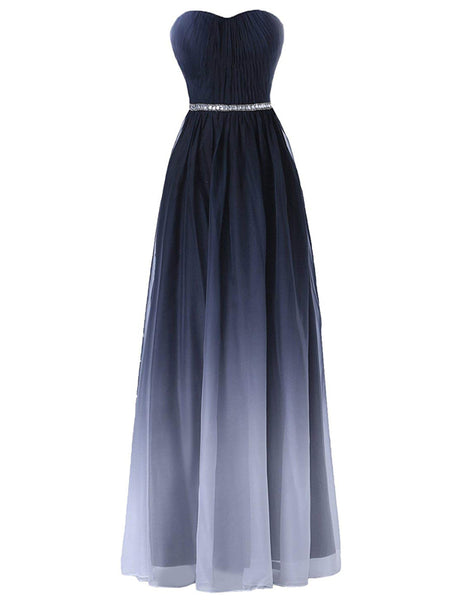 Laceshe Women's Ombre Strapless Sweetheart Bridesmaid Dress