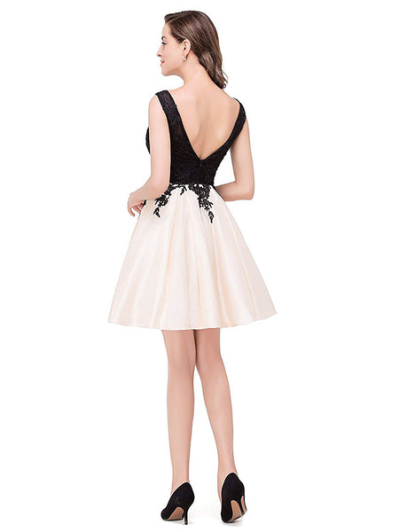 Laceshe Women's Floral Lace Backless Short Cocktail Dress