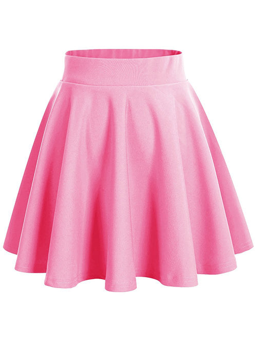 LaceShe Women's Basic A-Line Flared Skater Mini Skirt