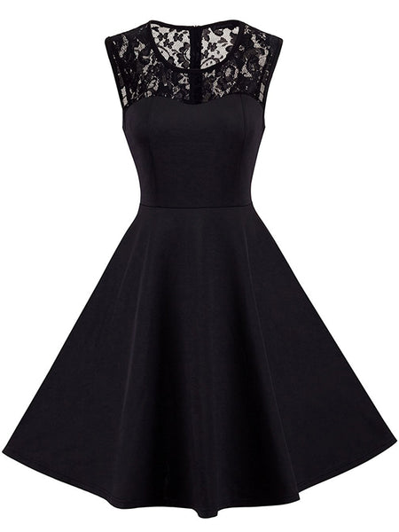 LaceShe Women's Vintage Chic Sleeveless Cocktail Dress