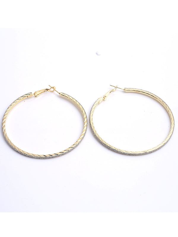 LaceShe Women Crystals Fashion Big Circle Earrings