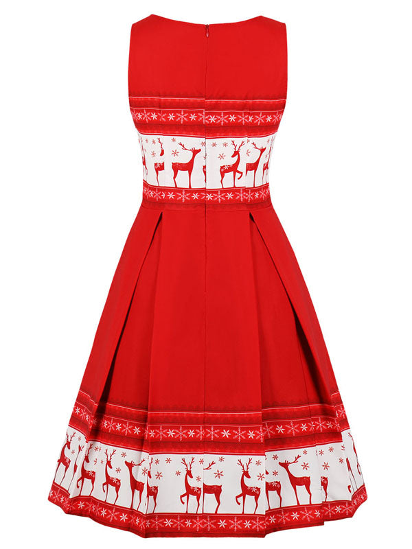 Laceshe Women's Christmas Sleeveless Vintage Dress