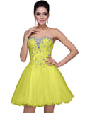 LaceShe Women's Above Knee Length Strapless Homecoming Dress