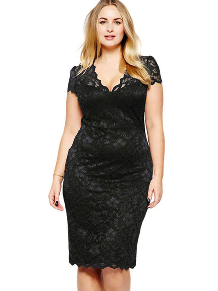 Laceshe Women\'s Plus Size Short Sleeve Lace Dress
