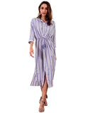 LaceShe Women's 3/4 Sleeve Long Casual Dress