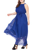 LaceShe Women's Halter Plus Size Chiffon Dress