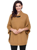 Laceshe Women's Shawl High Collar Bat Sleeve Knit Sweater