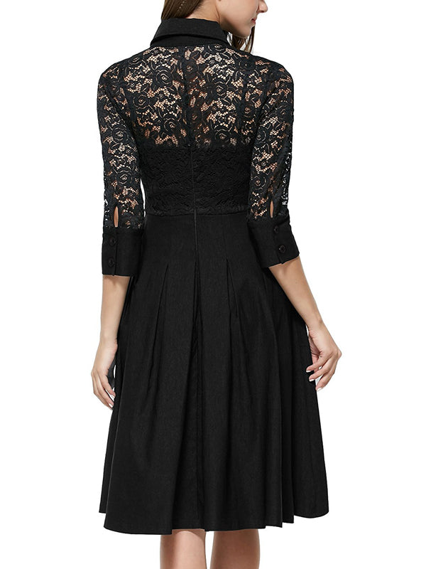 LaceShe Vintage Style 3/4 Sleeve Black Lace Dress