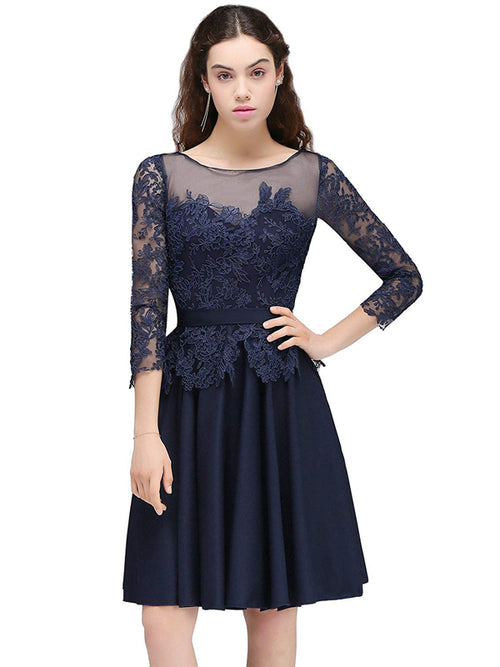 Laceshe Women's 3/4 Sleeve Backless Cocktail Prom Dress