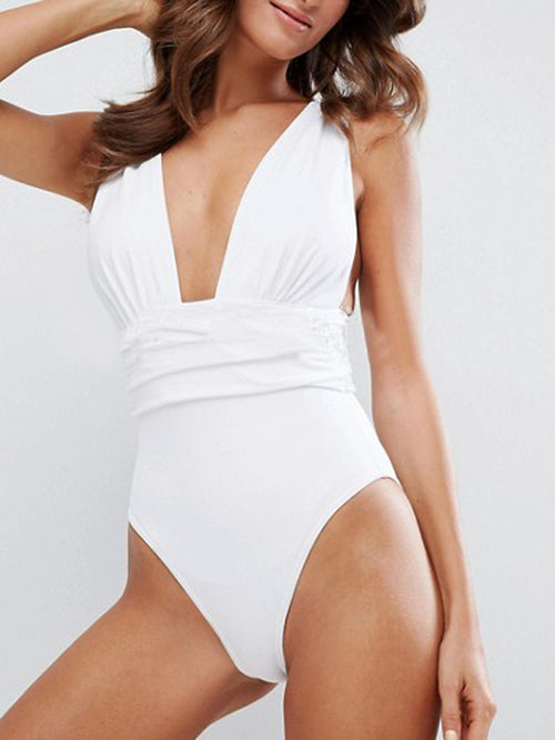 LaceShe Solid Color Plunging One-piece Swimsuit