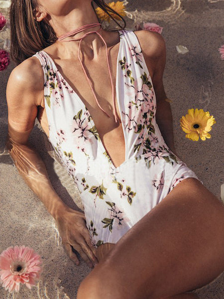LaceShe Floral Plunging One-piece Swimsuit
