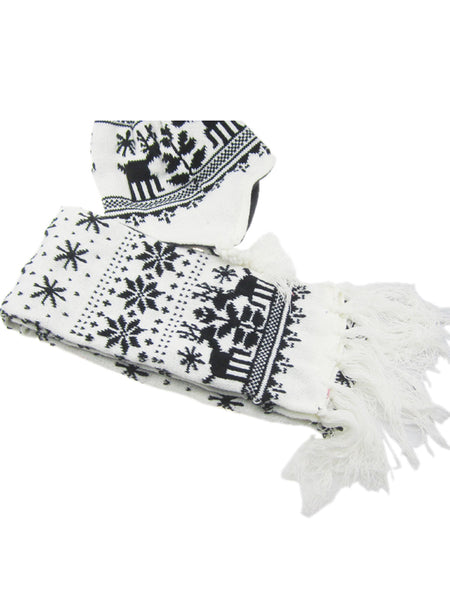 Laceshe 2-piece Christmas Warm Scarf and Hat Set