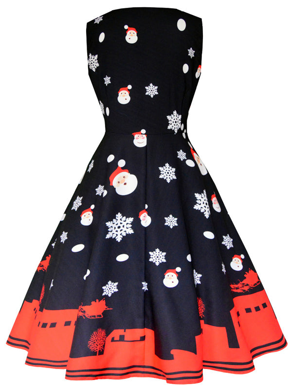 Laceshe Women's Christmas Image A-line Vintage Dress