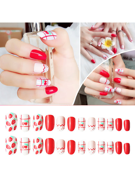 LaceShe Short Square White And Red Lines Fake Nail Tips