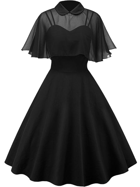 LaceShe Women's Sample Chiffon Black A-line Party Dress