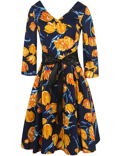 LaceShe Women V Neck Floral Cocktail Dress
