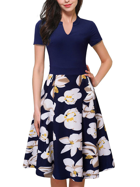 LaceShe Women's Comfortable Sleeveless Floral Dress
