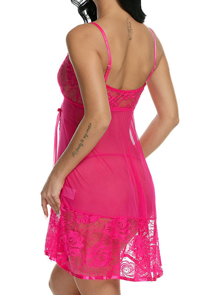 LaceShe Women's Lace Strap Babydoll Polyester Teddy Patchwork Nightwear Lingerie Set