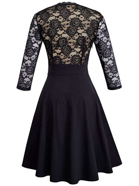 LaceShe Women's Chic V-Neck Patchwork Flare Party Lace Dress