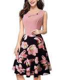 LaceShe Women Elegant Floral Short Sleeve Cocktail Dress