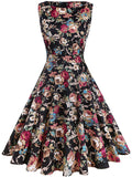 LaceShe Women's Vintage Floral Cocktail Mini Dress