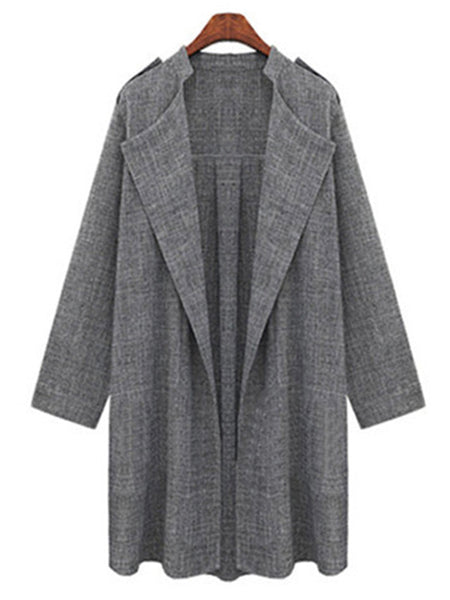 Laceshe Women Plus Size Long Cardigan Trench Coat