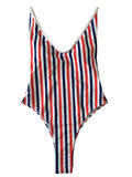 LaceShe Stripe printed One Piece Swimsuit