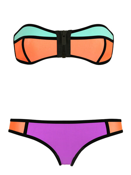 LaceShe Multi-colored Front Zipper Bikini Set