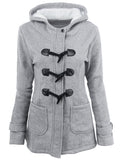 Laceshe Women Horn Buckle Coat Female Thicken Long Hooded Wool Outerwear
