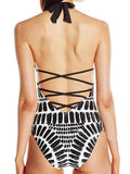 LaceShe Black White Printing Halter One Piece Swimsuit