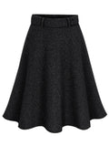 Laceshe Women's Big Size High Waist Pleated Woolen Skirt