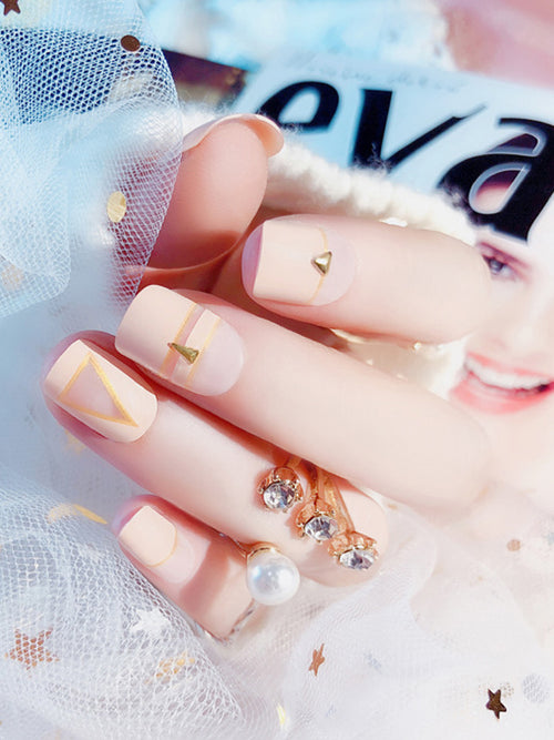 Laceshe Full Cover Short Apricot Fake Nails