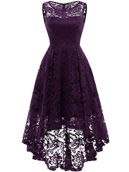 LaceShe Women's Lace Sleeveless Hi-Lo Cocktail Formal Swing Dress