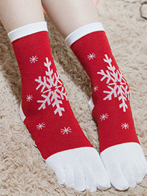 Laceshe 5 Pairs Christmas Cute Five Toes Stretchy Socks
