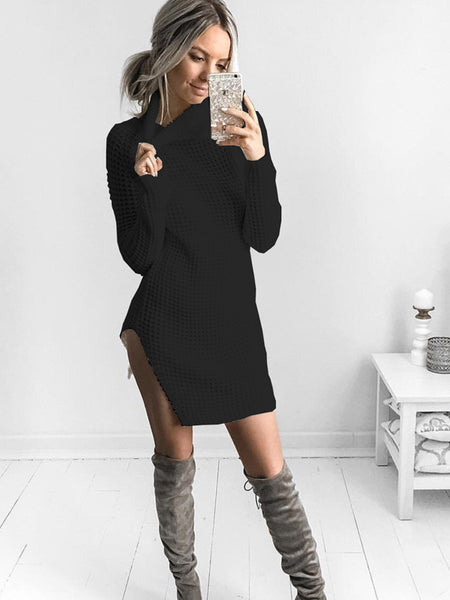 LaceShe Flattering Turtle-Neck Sweater Dress