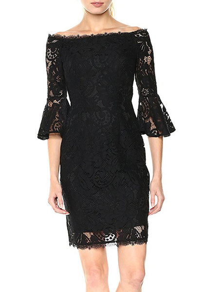 LaceShe women's Off-the-Shoulder Sheath Half Sleeve Lace Dress