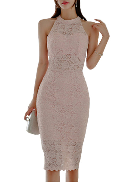 Laceshe Womens Sexy Halter Cut Out Back Lace Dress