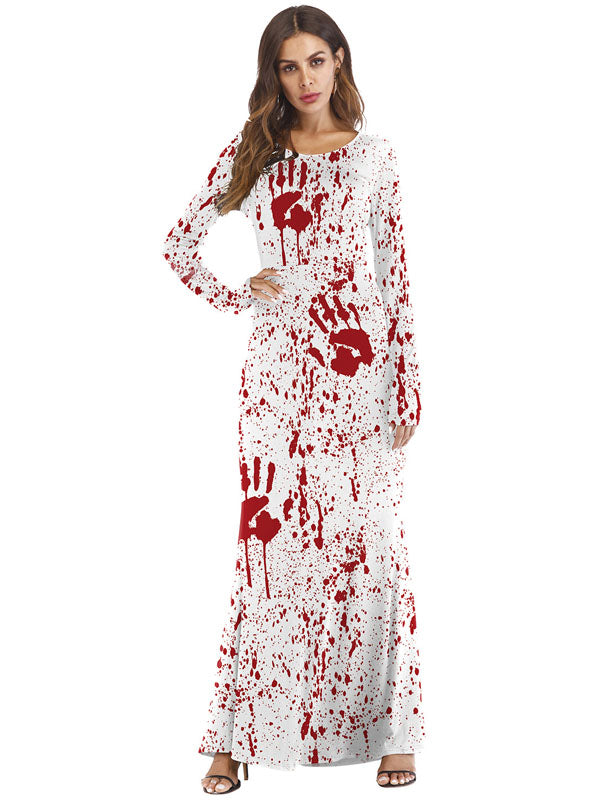 Laceshe Women's Halloween Style Floral Long Sleeve Causal Dress